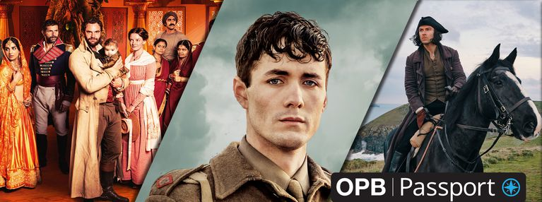 Three images of a family in Beecham House, British Soldier and Poldark on a horse with the OPB Passport logo.